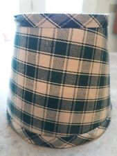 """Lampshade Green Plaid Fabric Clip On 6 X 4. 5"""" Tall"""