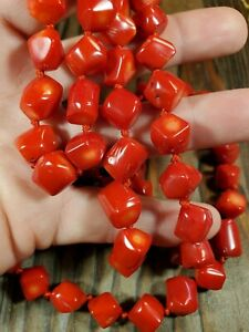 """Red Coral Necklace Hand Knotted Beaded 36"""" Long Strand Heavy Quality"""