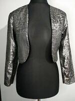 Jon Platt Women's Jacket Cropped Vintage Silver Metallic Snakeskin Black Size 10