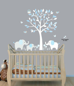 Elephant Tree Nursery Sticker Decal, Boys Room Wall Decor, Elephant Wall Art