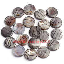 """20mm Natural Banded Black Shell Coin Shape Gemstone Loose Beads Strand 15"""""""