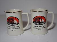 SET OF 2 Vintage 1972 KANSAS CITY WORKS Electric Furnace 1,004,346 Tons MUG CUP