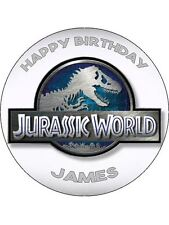 "Jurassic World Park Dinosaurs Personalised 7.5"" Birthday Cake Topper on Icing"