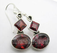 Natural Faceted RED GARNET 2 GEMSTONE Women's 925 Solid Silver Earrings 1.3""