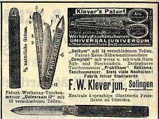 F.W.Klever jun. Solingen WERKZEUG-TASCHENMESSER Historische Reklame von 1912