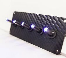 BLACK 3D WRAP CARBON FIBER PANEL w/ LED toggle switches - BLUE