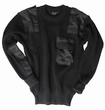 German Army Style Jumper Black - Commando Pullover Sweater Top Military Wool New