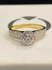 Pave 0,74 Cts Runde Brilliant Cut Natürlich Diamanten Verlobung Ring In 18K Gold