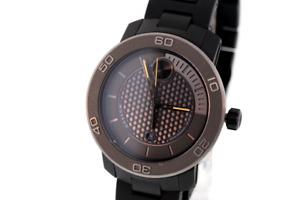 Men's Movado 3600097 BOLD Black Titanium Gray Dial Orange Accent Watch