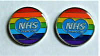 2 x NHS Rainbow Thank You Heart Enamel Lapel Pin Badge NHS THANK YOU Key Workers