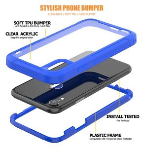 New Heavy Duty Rugged Builder Shockproof Clear Back Case Cover For Mobile Phone