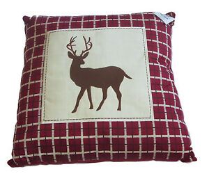 Whitetail Deer Patch Pillow Throw New Plaid Silhouette Maroon Wild Animals Brown