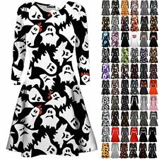 Womens Ladies Pumpkin Spider Long Sleeve Skeleton Smock Halloween Swing Dress