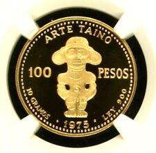 Dominican Republic 1975 Proof Gold 100 Pesos Taino Art NGC PF69 Rare Coin