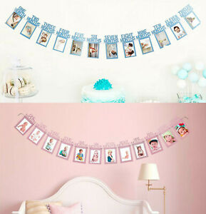 1st Birthday Baby Photo Banner for First to 12 months Monthly Milestone Photo