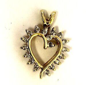 10k yellow gold .09ct SI2 H diamond heart pendant charm 1.9g vintage estate