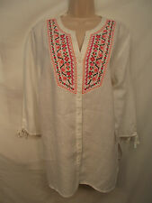 JM Collection Blouse Top 16W Plus White Linen Embroidered Floral 3/4 Sleeves