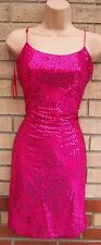 YESSICA PINK FUCHSIA MINI SEQUIN SEQUINS BEADED STRAPPY BODYCON PARTY DRESS 10
