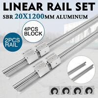 2Pcs SBR20 1200mm Linear Slide Guide Shaft Rail+4Pcs SBR20UU Block CNC US Stock