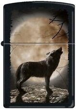 "Zippo Lighter ""Wolf Howling to the Moon""  New  on black matte finish"