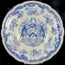 C1825 antico piatto transferware Blu Venerabile Compagnia FERRO Gossip ARALDICO B