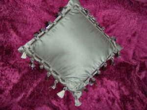 Dusty Green 16 Sq Soft Pillow Pea Sage Matte Satin Tassel Fringe Braid Loop Trim