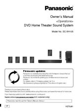Panasonic SA-XH105 Home Theater System Owners Instruction Manual