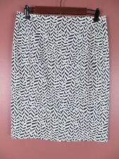 SK10126- ANN TAYLOR LOFT Woman 97% Cotton Pencil Skirt Dim Blue White Geo Sz 8