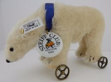Steiff Polar Bear on Wheels 1910 White 22 Replica w/ Box COA Never Displayed