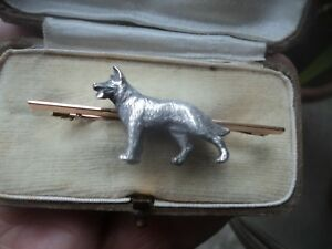 9ct Gold & Silver Dog Brooch - Alabaster & Wilson - German Shepherd / Alsatian