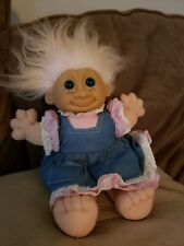 "Vintage Russ Plush 12"" Troll Kidz Doll Cute Pink Gingham & Jean Dress"