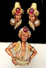 Rare Vtg Signed HAR Jeweled Genie Fortune Teller Brooch Pin & Clip Earring Set