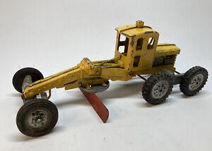 Vintage Hubley Steerable Yellow Diesel Road Grader W Red Blade Scraper USA Made!