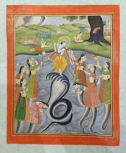 Lord Krishna Dancing on Snake Demon Kaliya Handmade Miniature Religious Painting