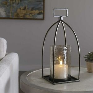 """RIAD FARMHOUSE INSPIRED XL 16"""" AGED METAL TEXTURED GLASS CANDLE HOLDER UTTERMOST"""