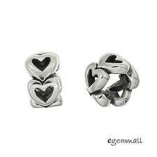 1PC Antique Sterling Silver Love Heart European Charm Spacer Bead #97880