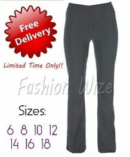 Bootcut Polyester Mid Rise Plus Size Trousers for Women