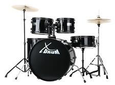 """XDrum Rookie 22"""" Schlagzeug Drum Kit Hocker Becken Stativ Schule DVD Set Schwarz"""