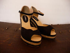 NEW NATURA WOMENS BLACK AND BEIGE WEDGE PEEP TOE ESPADRILLES SHOES UK 4 EU 37