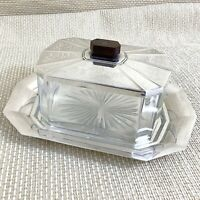 Art Christofle Art Deco Biscuit Box Jar Cheese Tray Silver Plated Glass RARE