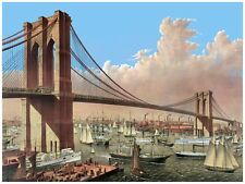 4450.Suspension bridge over busy river.steamboats.POSTER.decor Home Office art