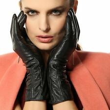Warmen Womens Lambskin Leather Plush Lined Long Winter Gloves Sleeves M, Black