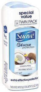 Suave Coconut Kiss, 24Hr Invisible Solid Deodorant - 2.6oz Ea - Twin Pack