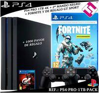 PS4 PLAYSTATION 4 PRO 1TB 2 MANDOS FORNITE CRIOGENIZACION + GRAN TURISMO GTSPORT