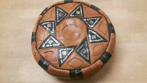 MOROCCAN OAK HAND STITCHED LEATHER POUFFE