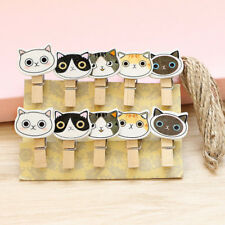 10 Pcs/pack Cat Wooden Clips Paper Photo Craft Decorative Wood Clip Hemp Rope
