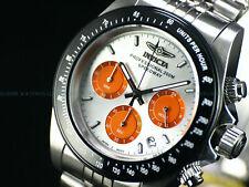 NEW Invicta 40mm Speedway Quartz Chronograph Silver Orange Dial 200M SS Watch