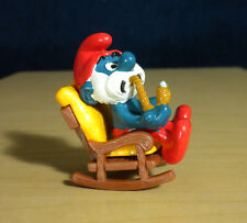 Papa Smurf Rocking Chair Pipe Super Smurfs Vintage Figure Toy PVC Figurine 40228