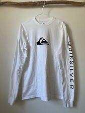 Mens Quicksilver Long Sleeve T-Shirt Tee Spellout Sleeve White Size Medium M