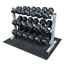 Body-Solid Rack with 5-50lb. Rubber Dumbbells, Floor Mat GDR363-SET - Hexagonal